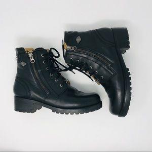 Harley Davidson Black Leather Biker Boots SZ 9.5